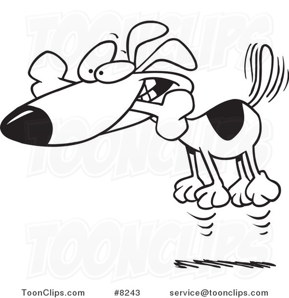 581x600 Cartoon Blacknd White Line Drawing Of Hyper Dog Jumping