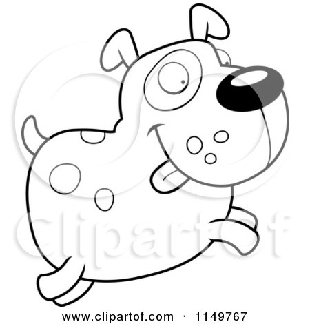 450x470 Cartoon Clipart Of A Black And White Chubby Spotted Dog Jumping