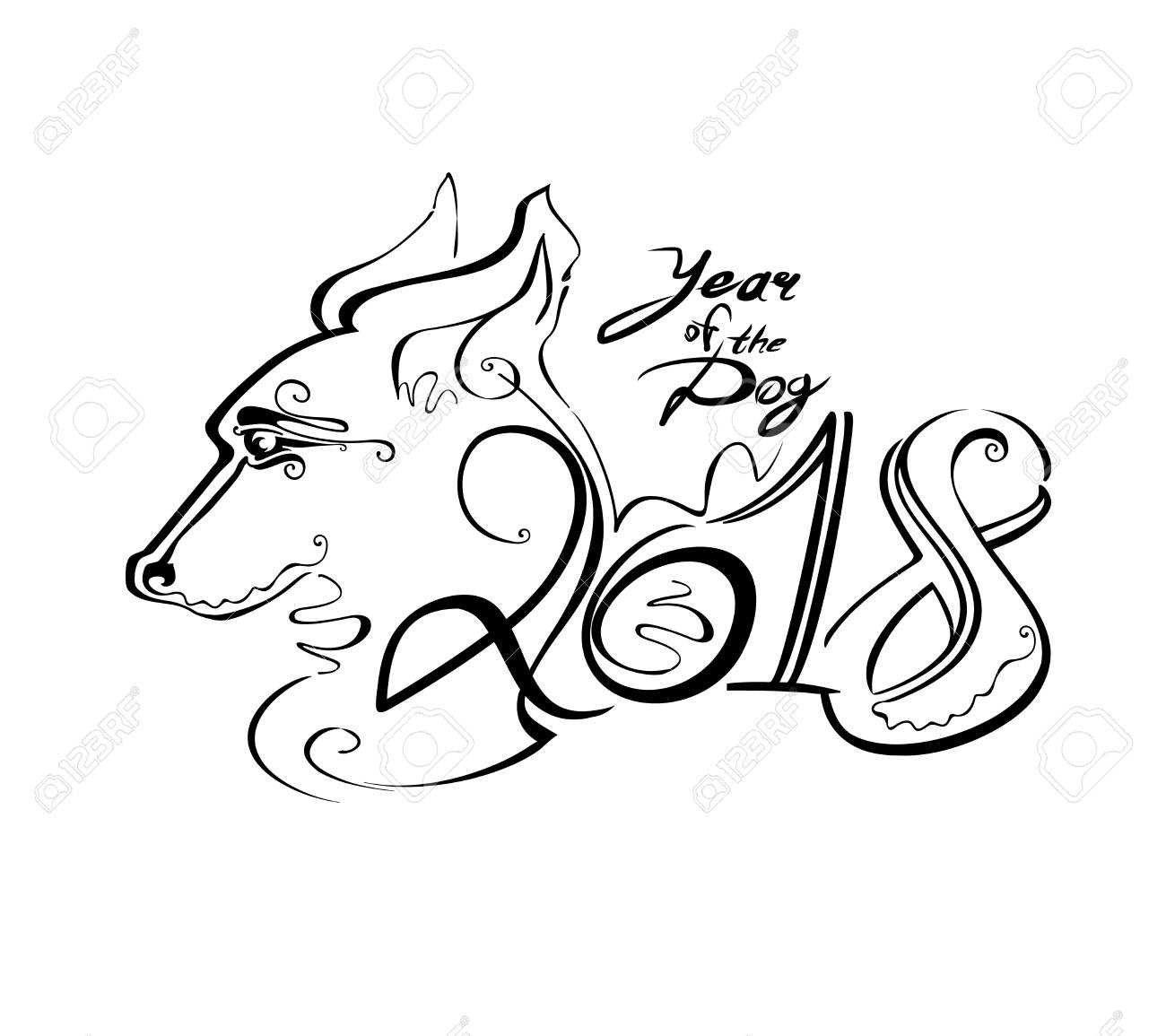 1300x1155 Handwriting Template With The 2018 And Dog Head. Line Art Curl
