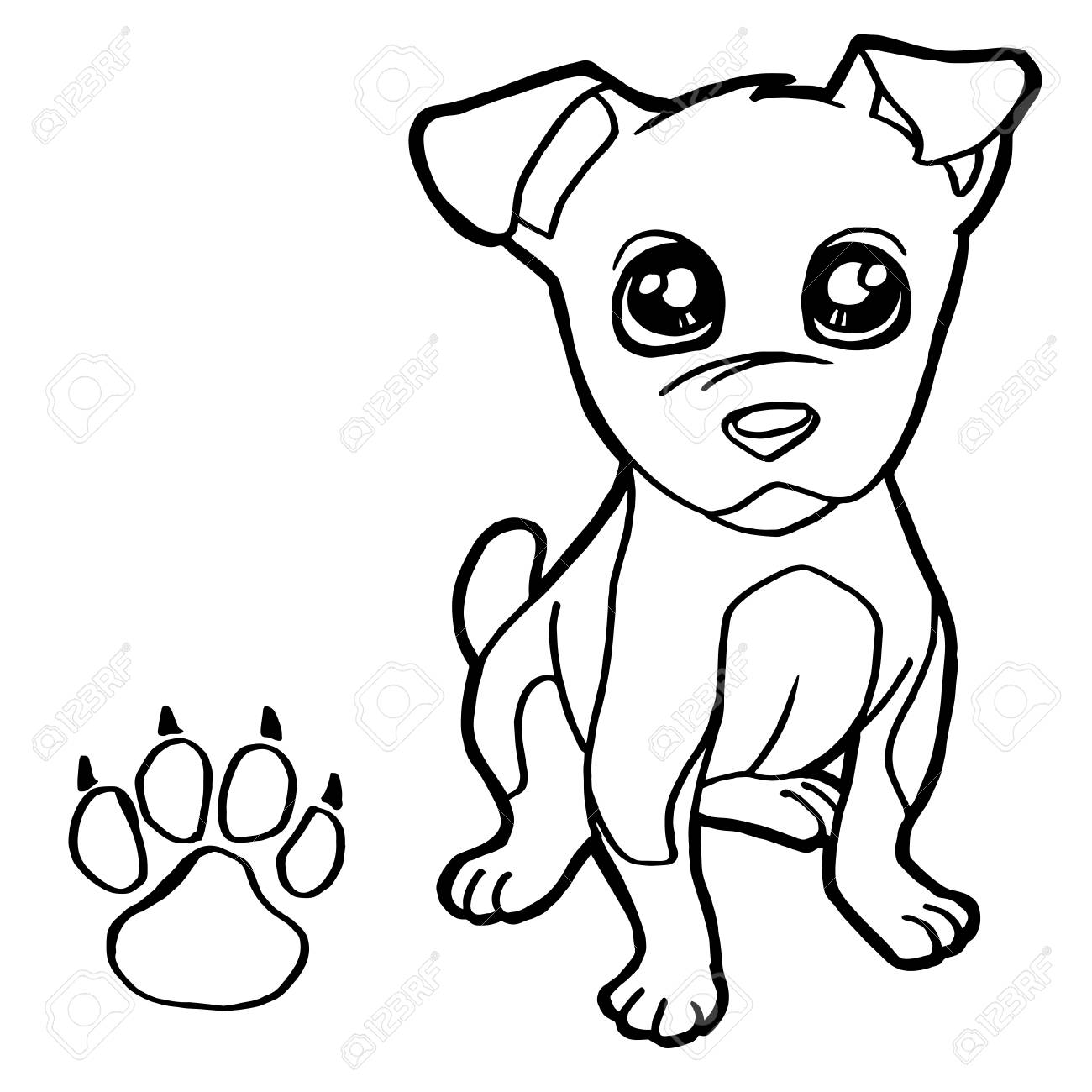 1300x1300 Dog With Paw Print Coloring Page Vector Royalty Free Cliparts
