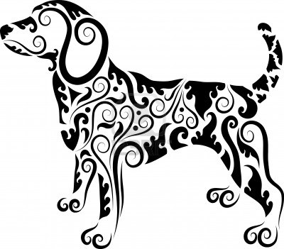 400x351 Dog Silhouette Made Of Pretty Graphics Tegning Dog