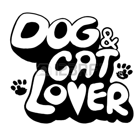 450x450 Hand Drawing Doodle Dog And Cat Text With Paw Print.vector