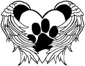300x231 Paw Print Heart Wings Vinyl Car Decal Art Wall Sticker Usa Dog Cat