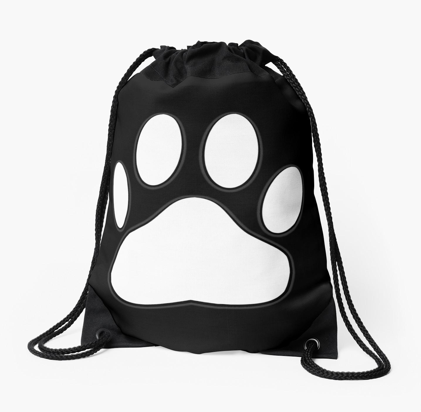 1435x1404 White Dog Paw Print Drawstring Bags By Almdrs Redbubble
