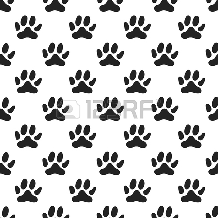 450x450 Cute Hand Drawn Nursery Seamless Pattern With Dog Paw Prints