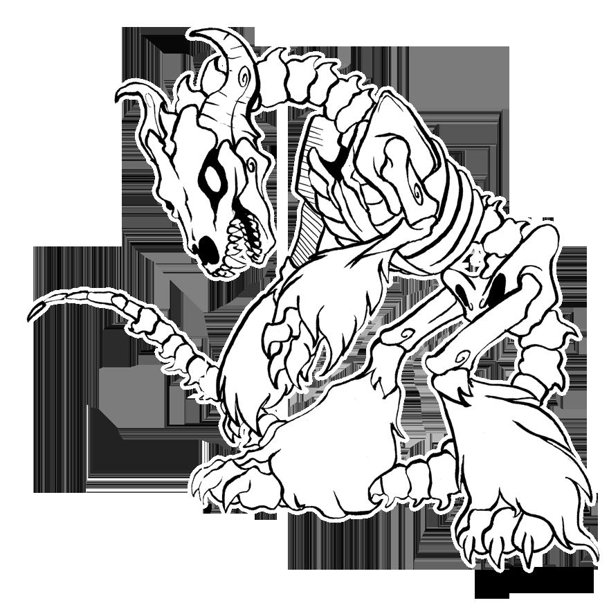 880x874 Skeleton Dog By Whiterthanred