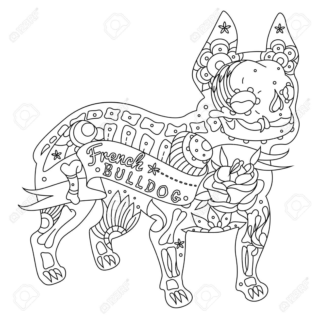 1299x1300 Stylized Skeleton French Bulldog. Vector French Bulldog. Vector