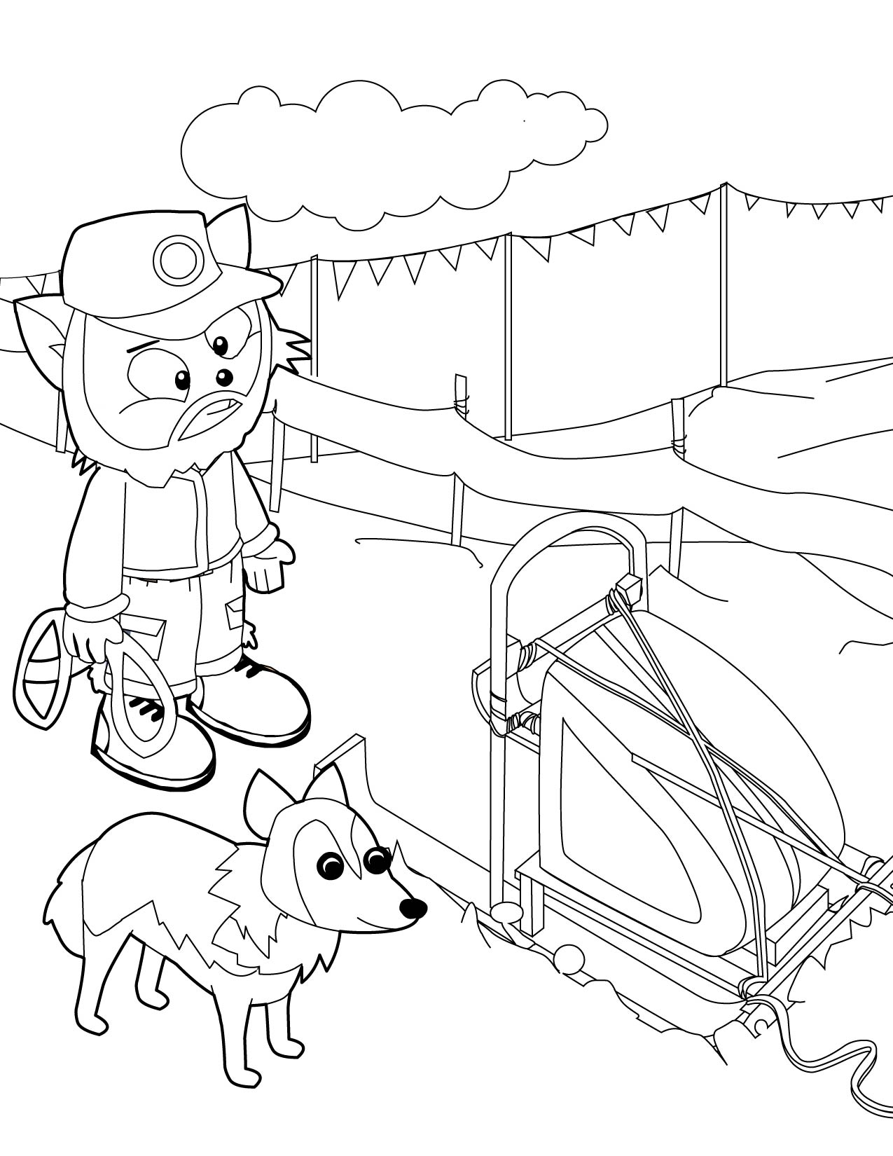 dog sled drawing at getdrawings com free for personal use dog sled santas sleigh with reindeer color page dogs sleigh coloring page