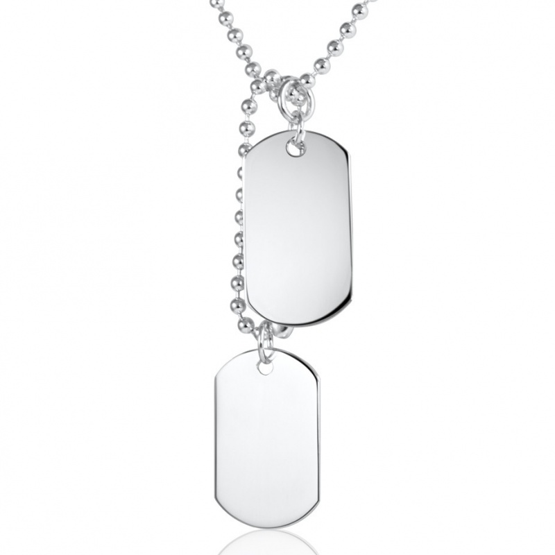 800x800 Classic Double Dog Tags Sterling Silver Necklace (Can Be Personalised)