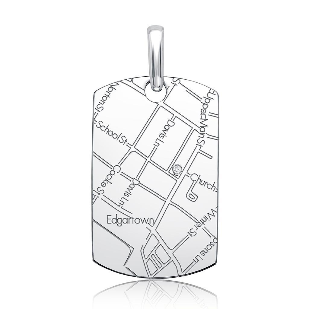 1024x1024 Sterling Silver Women's Map Dog Tag Pendant Maps By A.jaffe