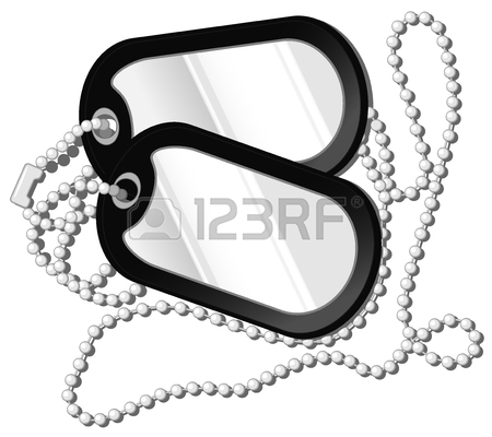 450x400 Vector Illustration Of Soldier Medallion. Army Metal Dog Tags