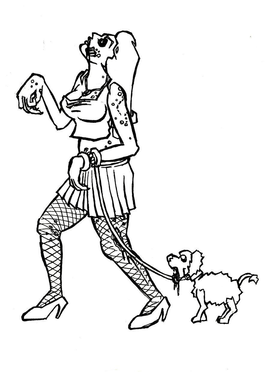 Dog Walking Drawing