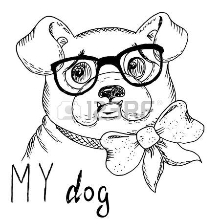 450x450 338 Tie And Glasses Dog Cliparts, Stock Vector And Royalty Free