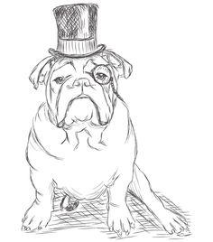 236x268 Original British Bulldog Watercolor Illustration By Jess Bircham
