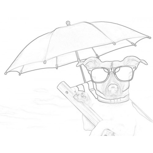 500x500 Relaxing With Umbrella Sketch For Canvas Painting