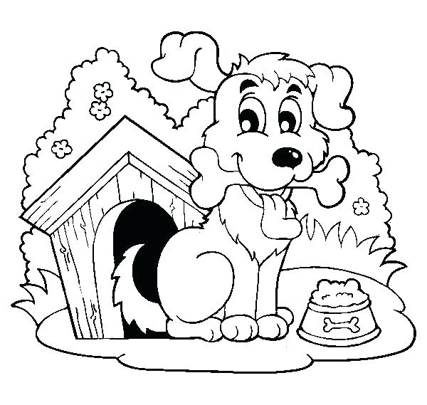 600x569 Dog House Coloring Page Happy