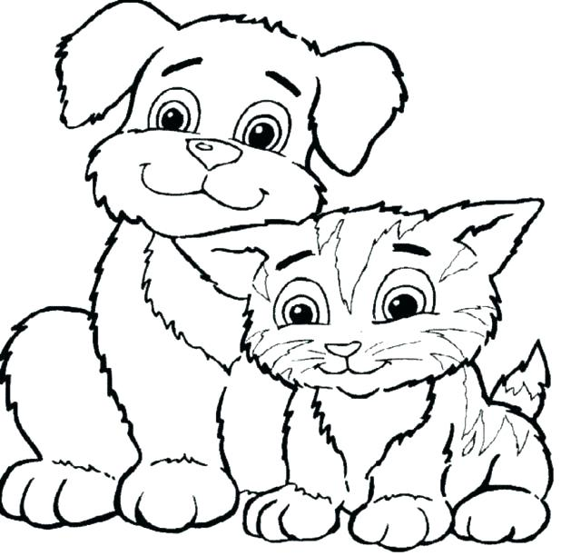 618x612 Coloring Pages Of Dogs 75 Also Cat And Dog Coloring Pages Coloring