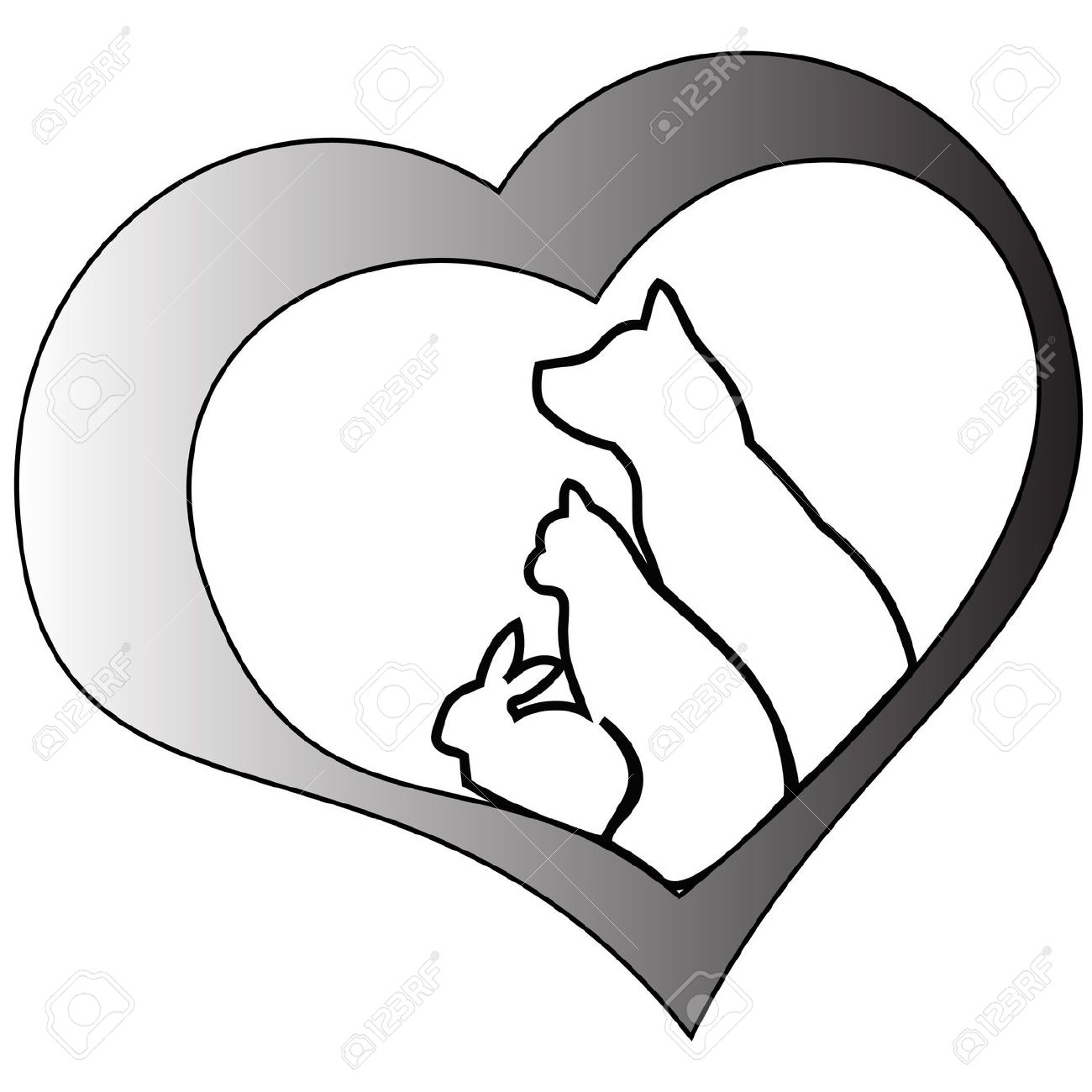 1300x1300 Heart Clipart Dog And Cat