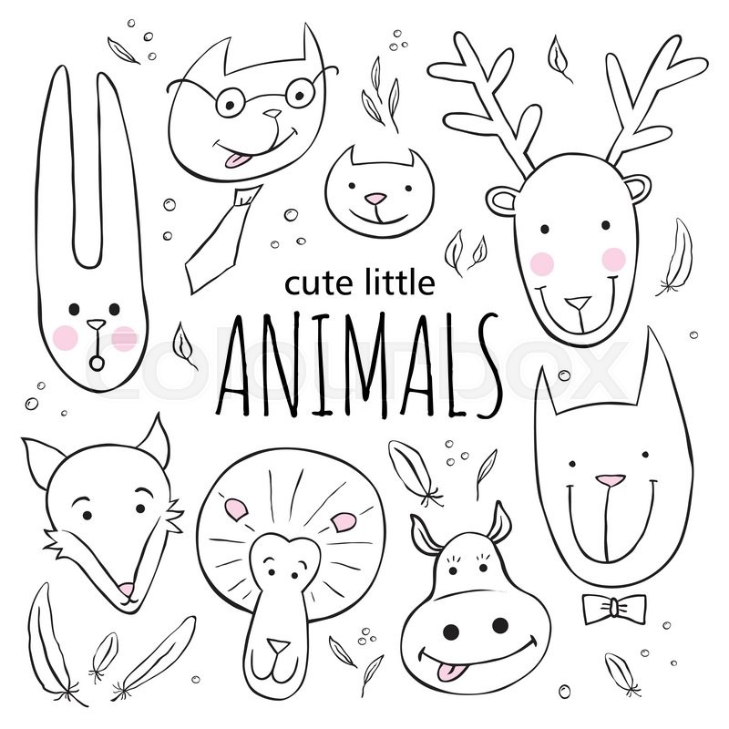 800x800 Set Of Cute Animal Faces. Vector Sketch Style Doodle Illustration