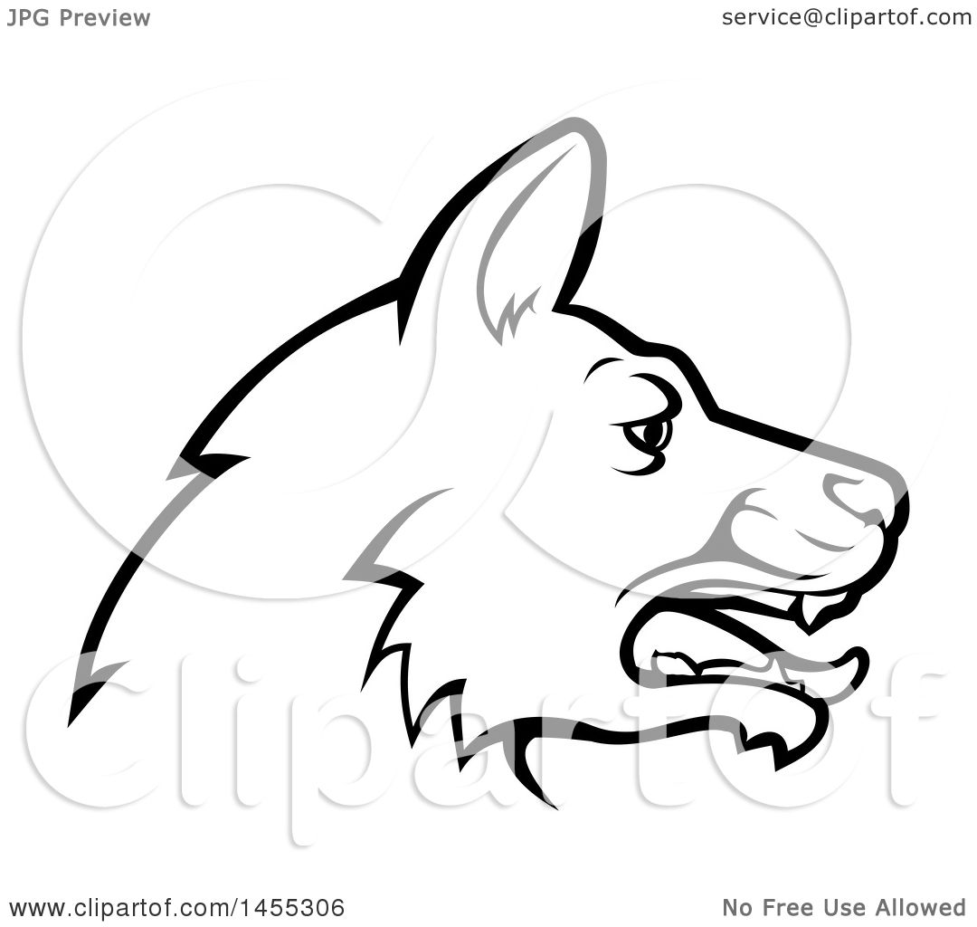 1080x1024 Clipart Of A Black And White Profiled German Shepherd Dog Face