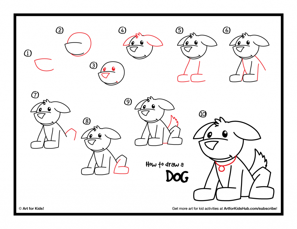 1024x791 How To Draw A Dog Step By Step For Kids Dog Drawing Step Step How