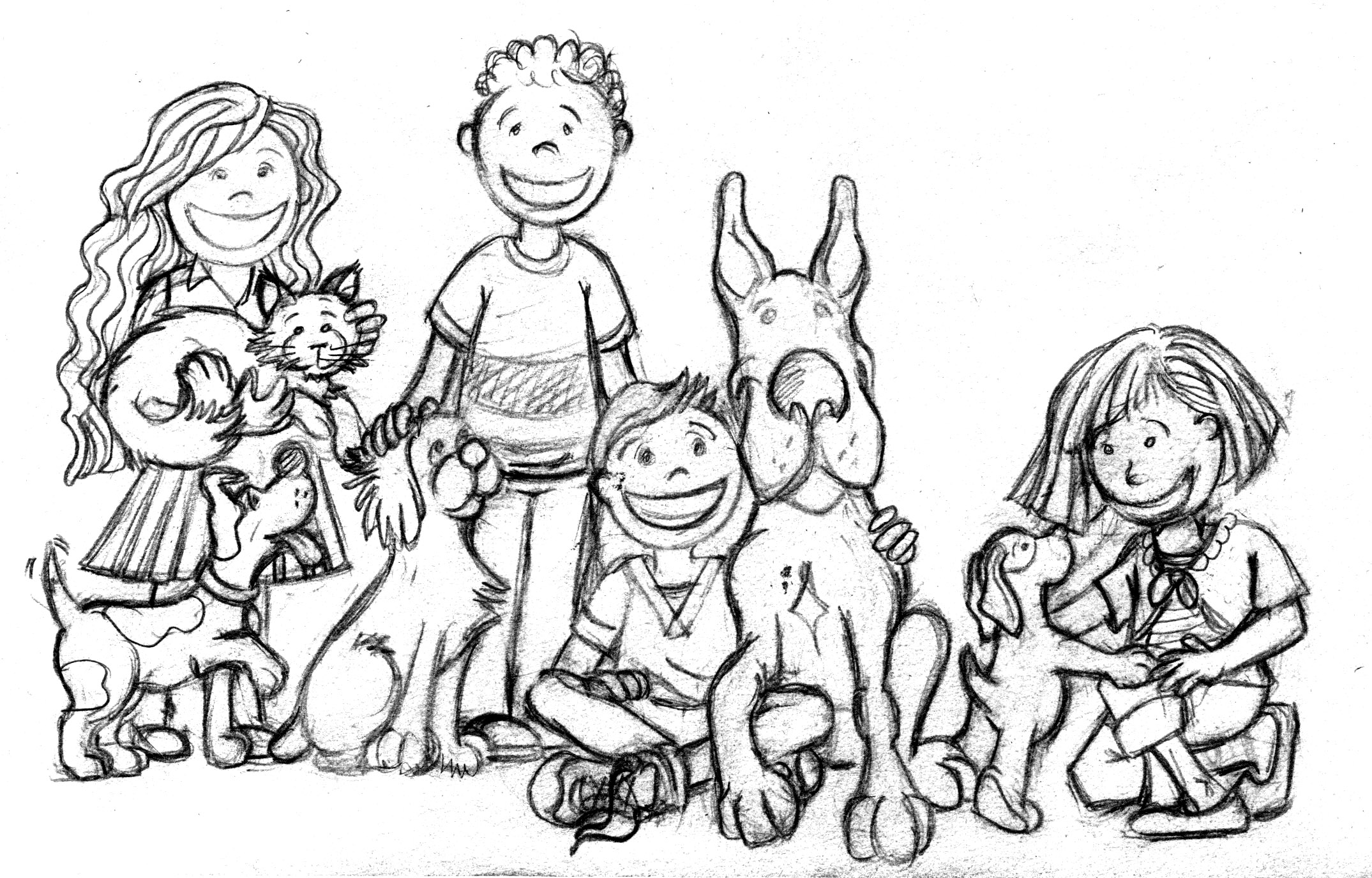 2149x1376 Kids And Dogs Illustration Sketch Created For Life Dog Magazine