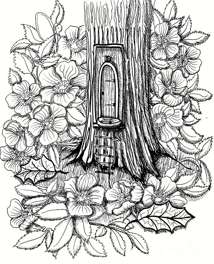 728x900 Fairy Tree Door With Dogwood Drawing By Dawn Boyer