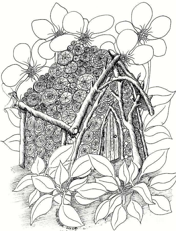 687x900 Log Rounds Fairy House And Dogwood Drawing By Dawn Boyer