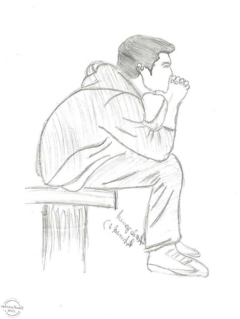 770x1024 Boy Sitting Simple Pencil Sketches Barbie Doll Simple Pencil