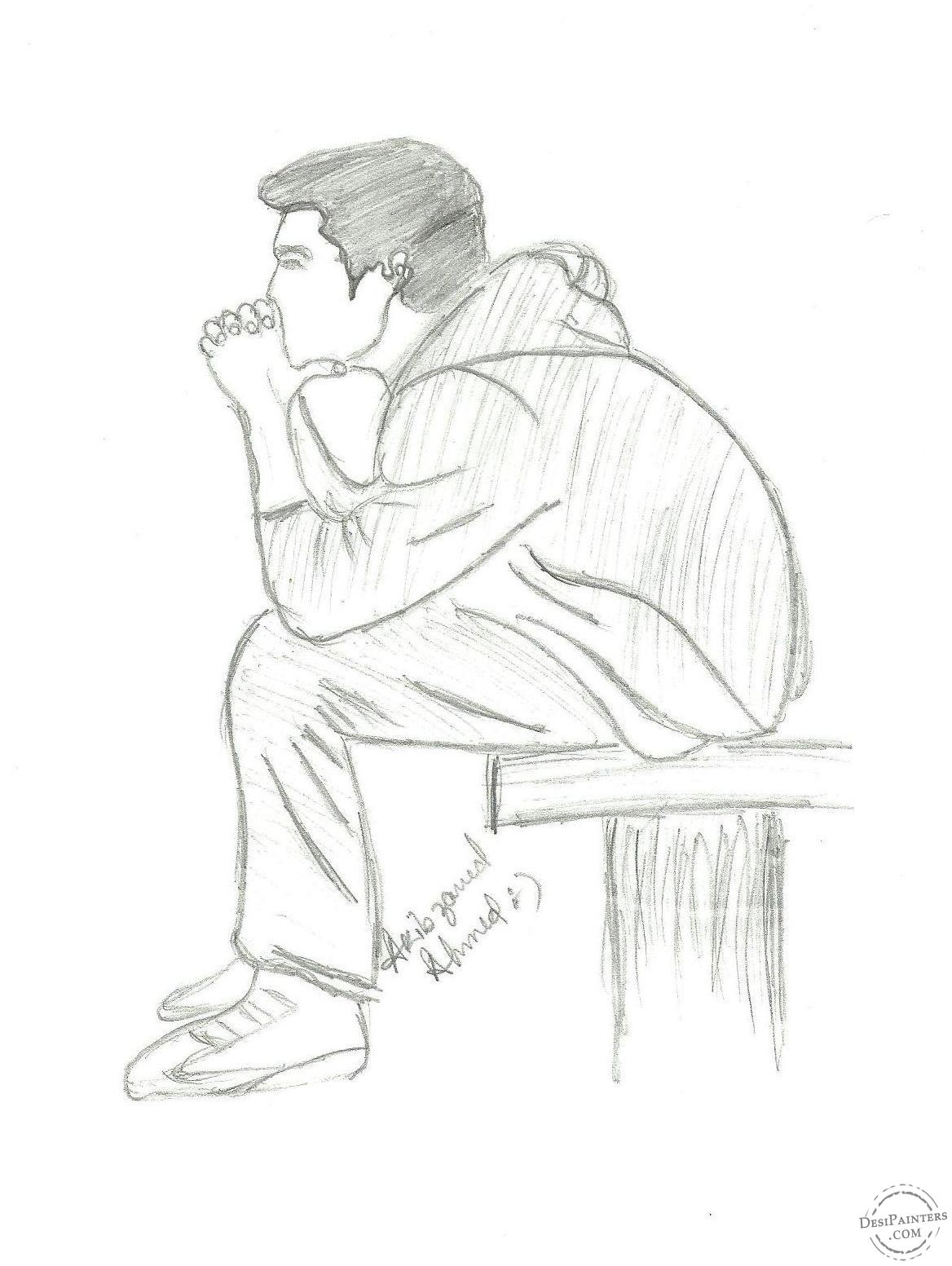 1168x1553 Pencil Sketches Of Lonely Sad Doll Alone Boy In The Rain Pencil