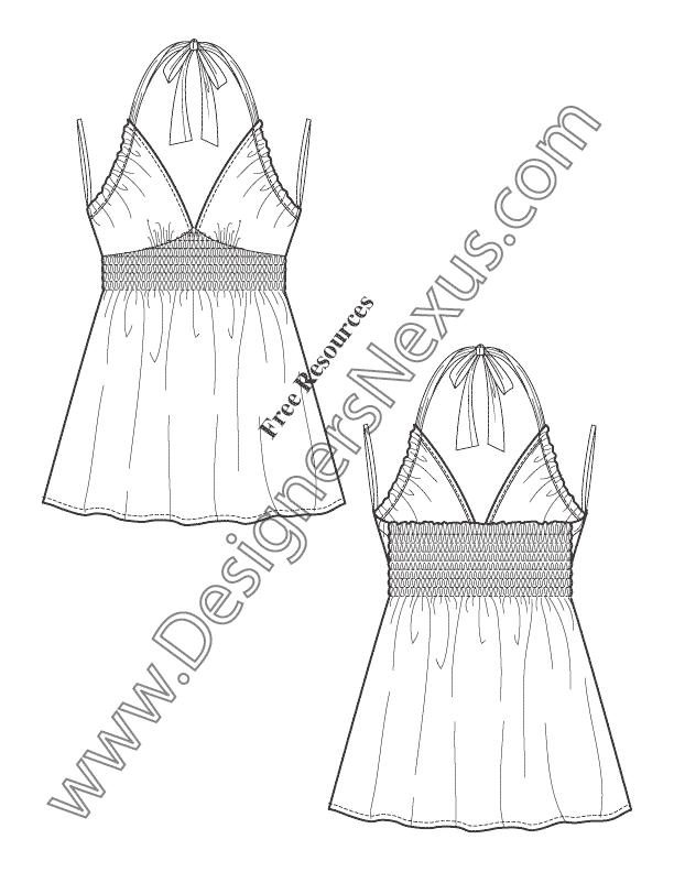 612x792 Sweetheart Baby Doll Halter Top Flat Fashion Sketch Art