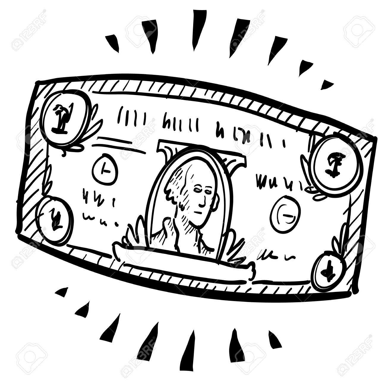 1299x1300 Doodle Style Paper Currency Or Dollar Bill Illustration
