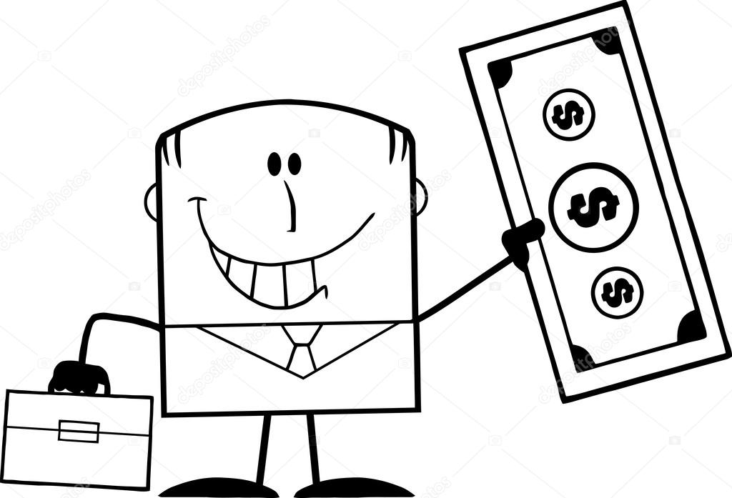 1024x697 Black And White Lucky Businessman With Briefcase Holding A Dollar