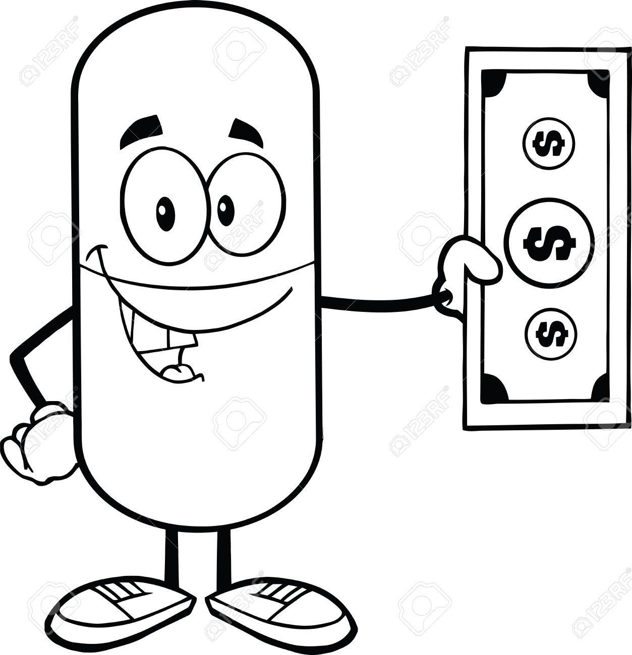 1253x1300 Black And White Pill Capsule Cartoon Character Showing A Dollar