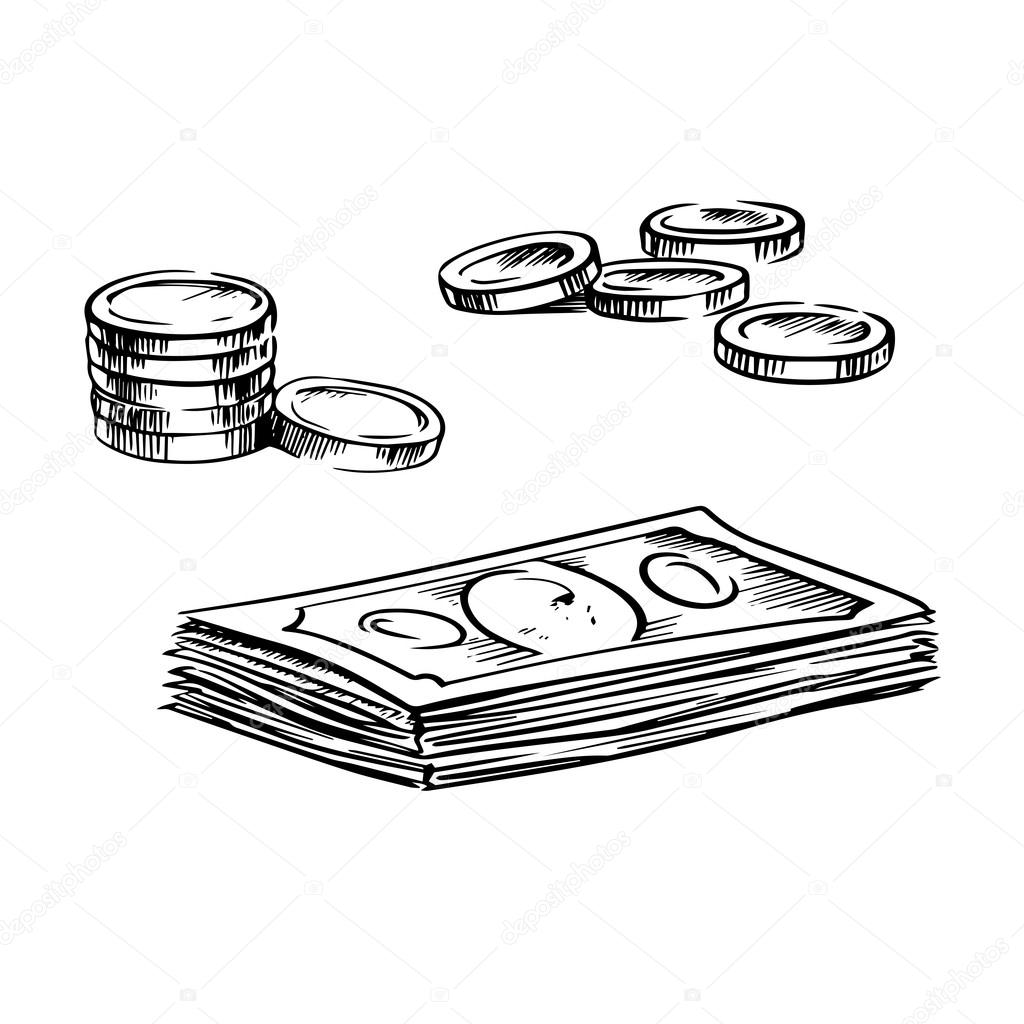 1024x1024 Coins And Stacks Of Dollar Bills Sketches Stock Vector