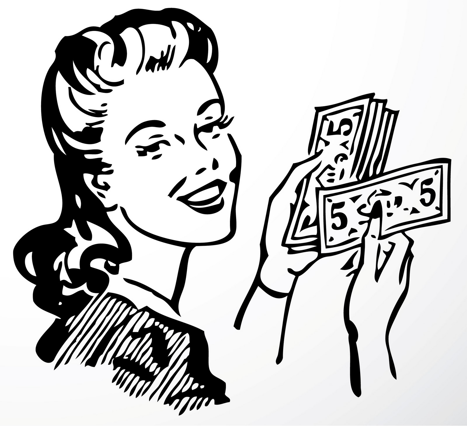 1600x1458 5 Dollar Bill Black And White