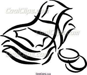 300x259 Dollar Bills And Coins Vector Clip Art