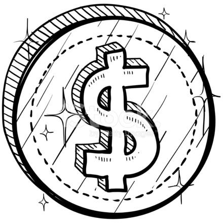 440x440 Dollar Sign On Coin Sketch Stock Vector