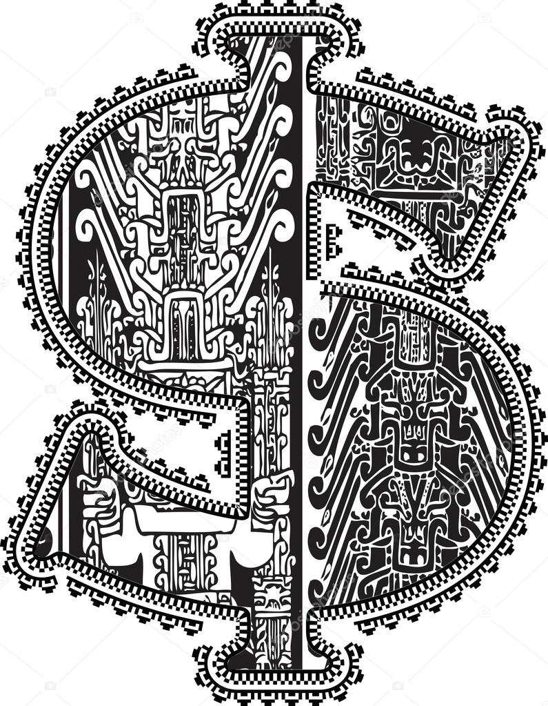 795x1023 Dollar Symbol With Ancient Drawing. Vector Illustration Stock