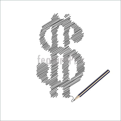 500x500 Abstract Forms Wooden Pencil Drawing A Dollar Symbol