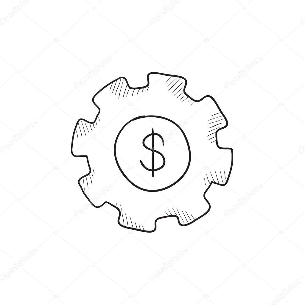 1024x1024 Gear With Dollar Sign Sketch Icon. Stock Vector Rastudio