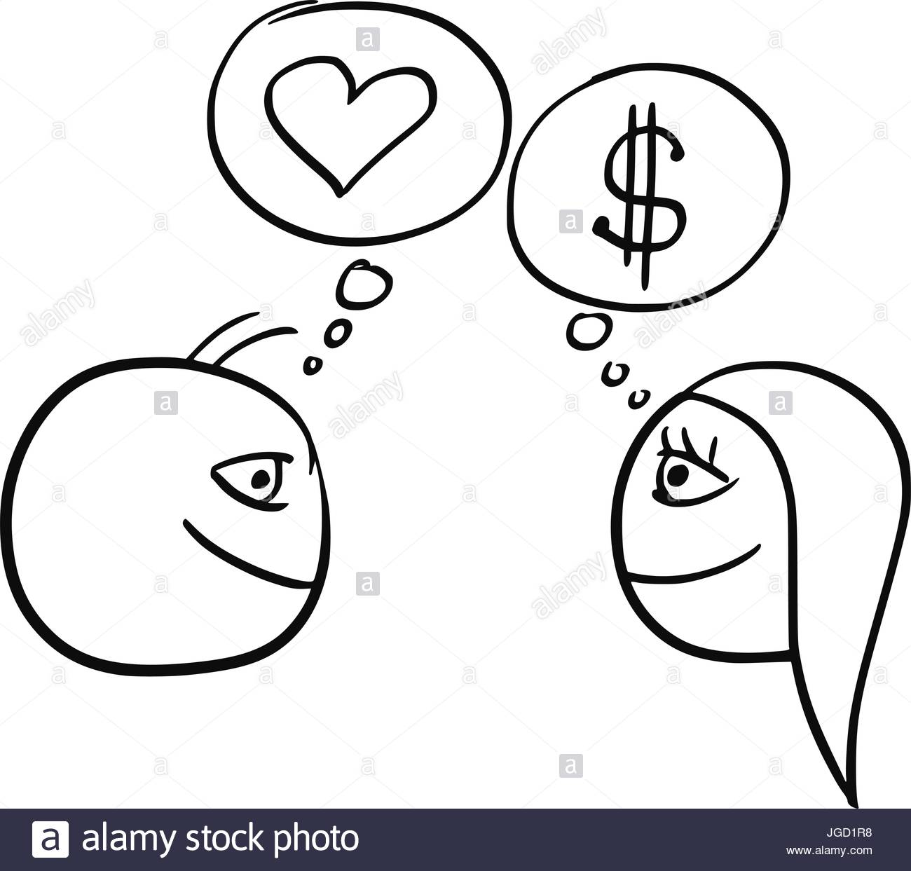 1300x1243 Cartoon Vector Of Difference Between Man And Woman Thinking About