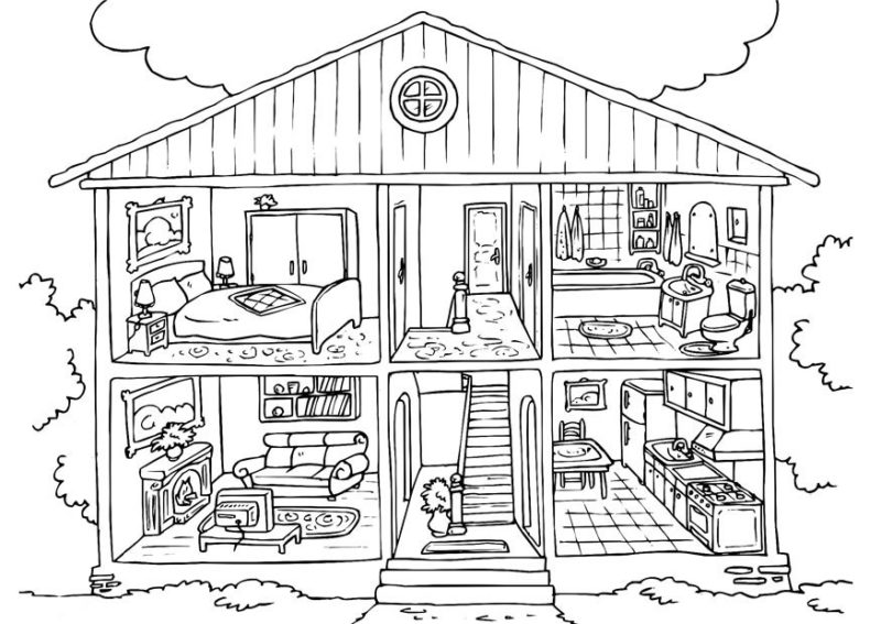 800x567 Doll House Printable Coloring Pages Homes Dollhouse