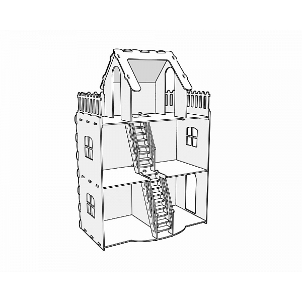600x600 Dollhouse V2. Big Plywood Doll House. Vector Model For Cnc Route