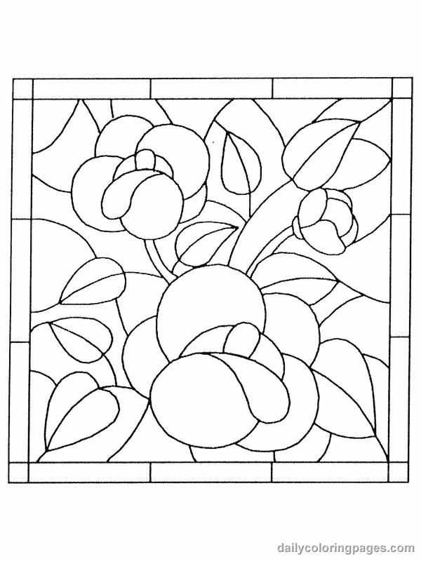 600x800 Stained Glass Flower Coloring Pages