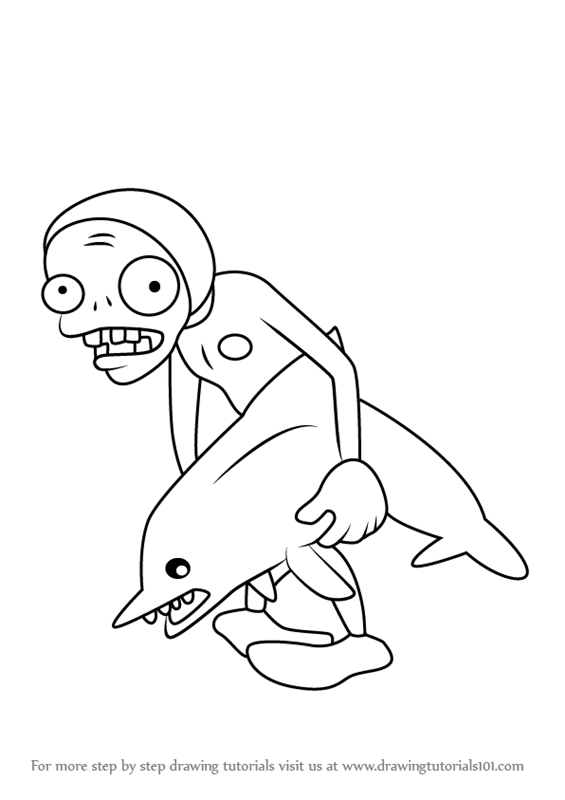 565x800 Learn How To Draw Dolphin Rider Zombie From Plants Vs. Zombies