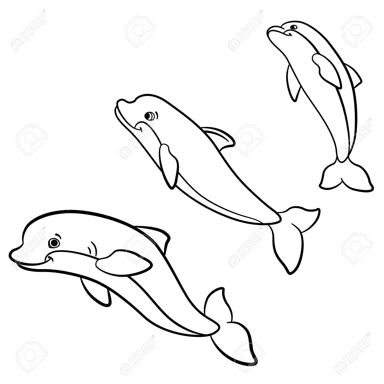 1300x1300 Coloring Pages. Marine Wild Animals. Three Cute Dolphins Jump
