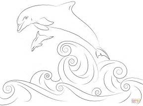 289x215 Jumping Dolphins With Ball Coloring Page