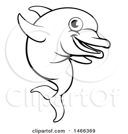 450x470 Clipart Of A Cute Happy Dolphin Jumping And Playing With A Ball