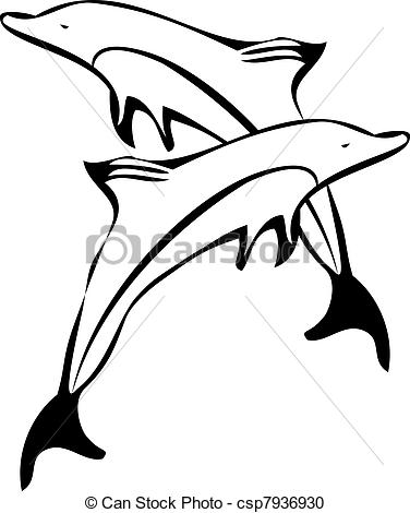 376x470 Dolphins Clipart Line Drawing